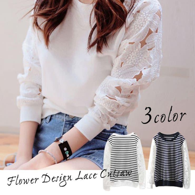 花柄レース ボーダー 3color 袖透けワンピース ボーダーシャツ