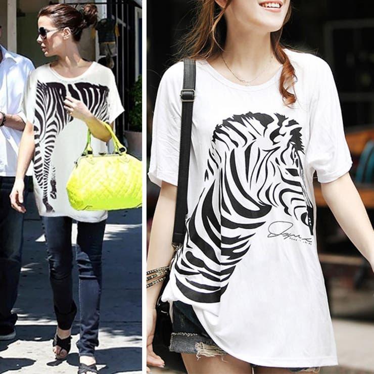 ジラフデザインTシャツワンピース Tシャツ 半袖 カットソー トップス ドルマンスリーブ