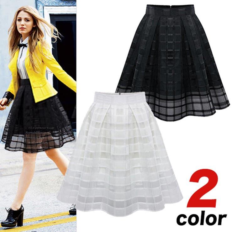 2カラー裾レース格子柄フレアデザインスカート