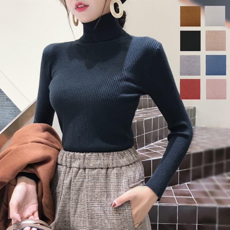 [新作★NewItem]8色!ハイネックシンプルニットセーター/レディース | 詳細画像