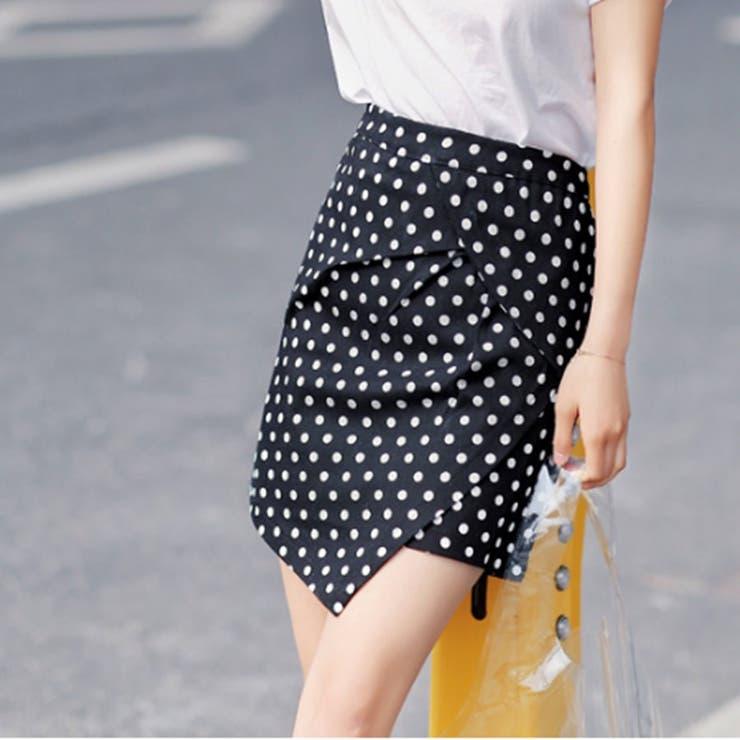 [新作★NewItem]3サイズ!テールカットドット柄タイトショートスカート/レディース | 詳細画像