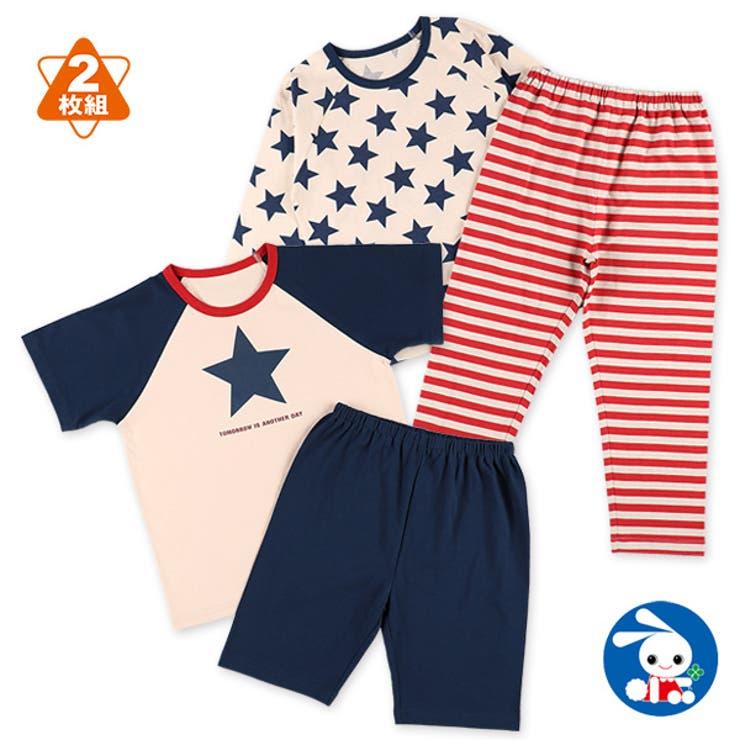 2枚組半袖+長袖パジャマ(星条旗) | 詳細画像