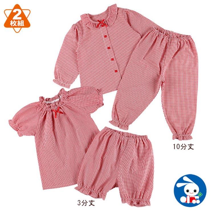 2枚組長袖+半袖パジャマ(先染め格子柄) | 詳細画像