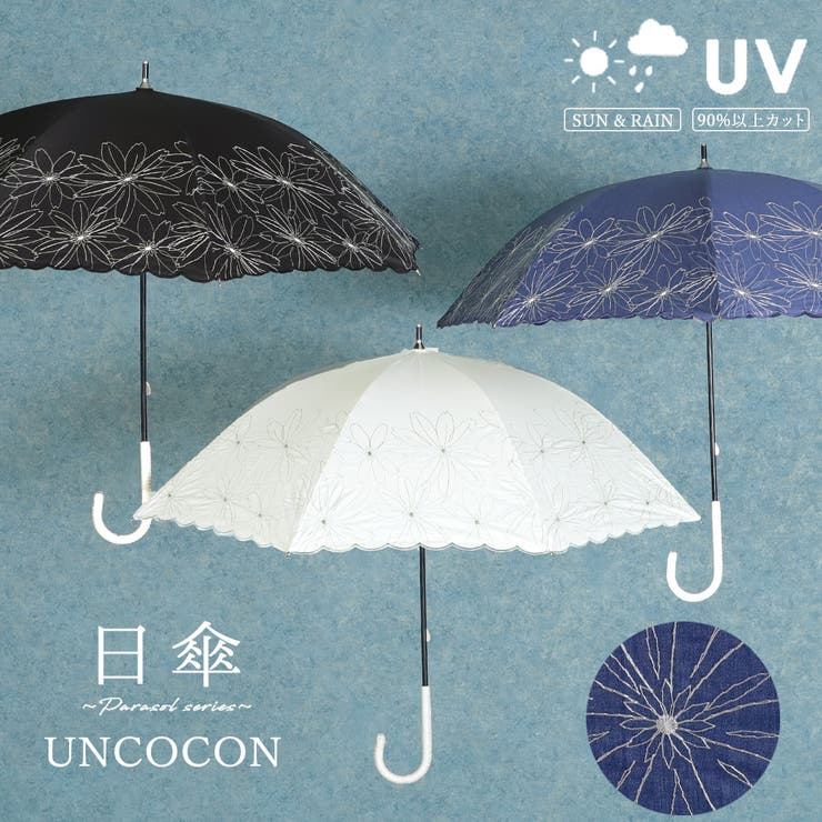 日傘 UVカット 長傘 刺繍 晴雨兼用   詳細画像