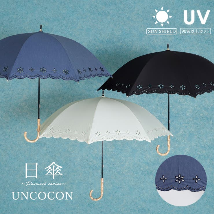 日傘 UVカット レース 刺繍 花柄 紫外線遮蔽 長傘   詳細画像