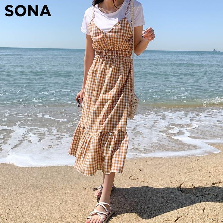 SONYUNARA(ソニョナラ)Tシャツ+チェックワンピースセット   3rd Spring   詳細画像1
