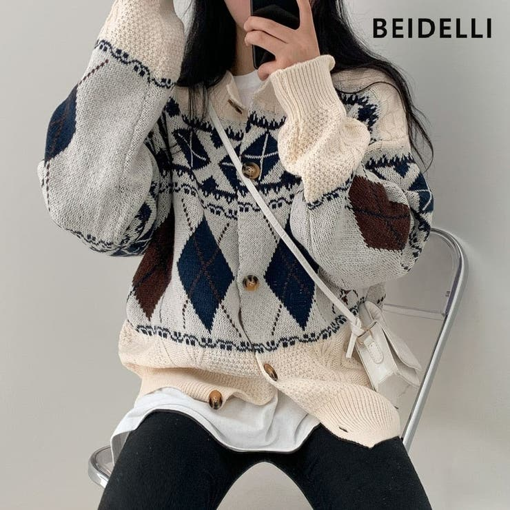Beidelli(ベイデリ)ルーズアーガイルニットカーディガン | 3rd Spring | 詳細画像1
