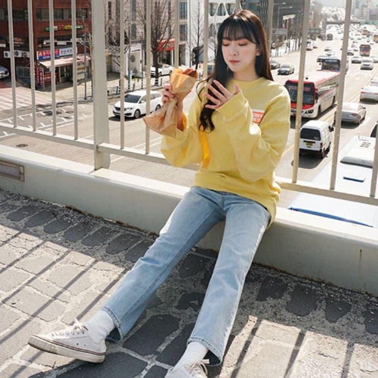 SONYUNARA(ソニョナラ)BEHINDビッグプリントトレーナー韓国韓国ファッションMTM韓国スウェットロゴトレーナー春カジュアルトップス英字プリントスウェットオーバーフィットゆったりトップスレディースファッション   詳細画像