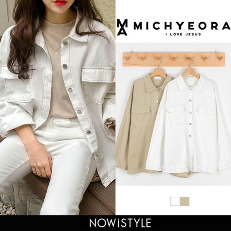 MICHYEORA(ミチョラ)スティッチジャケット韓国韓国ファッションジャケットコットンアウターベーシック羽織スプリングジャケット   詳細画像