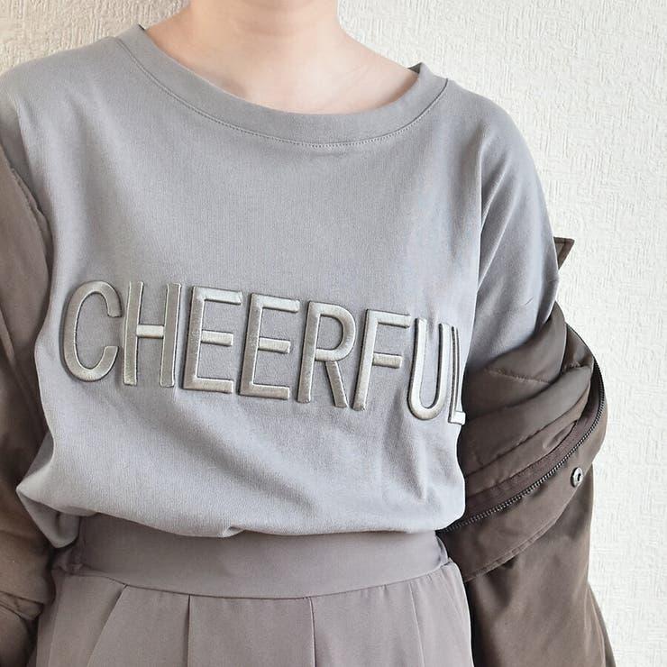 立体ロゴ刺繍Tシャツ レディース 新作 | SLENDER | 詳細画像1