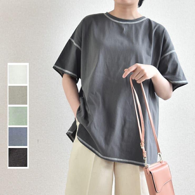 半袖tシャツ コットン100% 配色ステッチTシャツ   SLENDER   詳細画像1