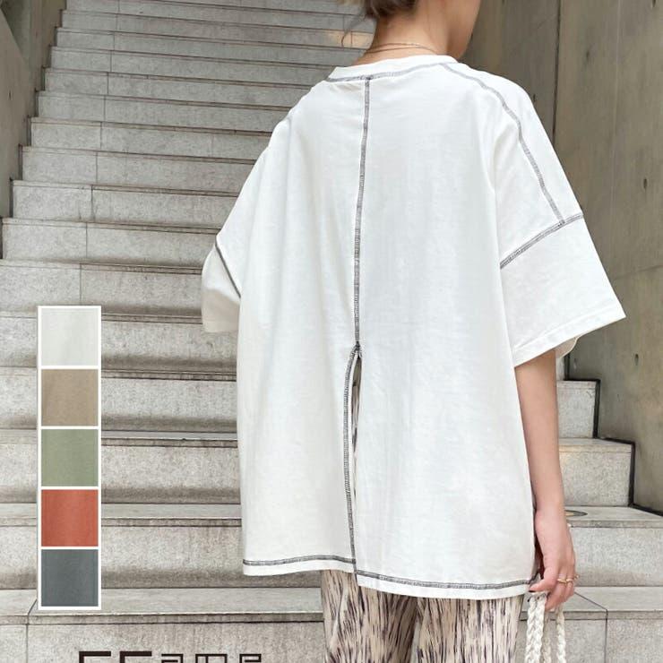 半袖tシャツ 綿天竺 配色ステッチオーバーサイズTシャツ | SLENDER | 詳細画像1