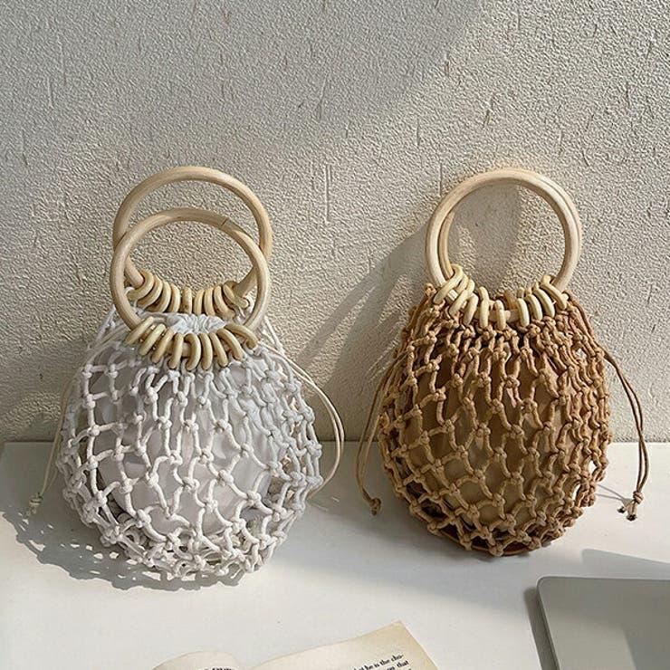 ウッドハンドル編みバッグ かごバッグ 手編み | SLENDER | 詳細画像1
