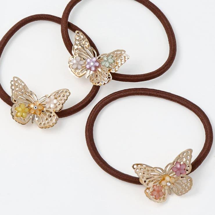 ヘアゴムバタフライ蝶フラワーヘアポニー | 詳細画像