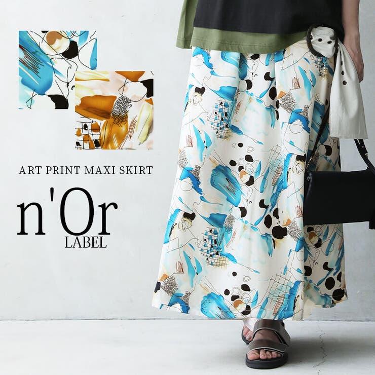 n'OrLABELアートプリントロングスカート   osharewalker   詳細画像1