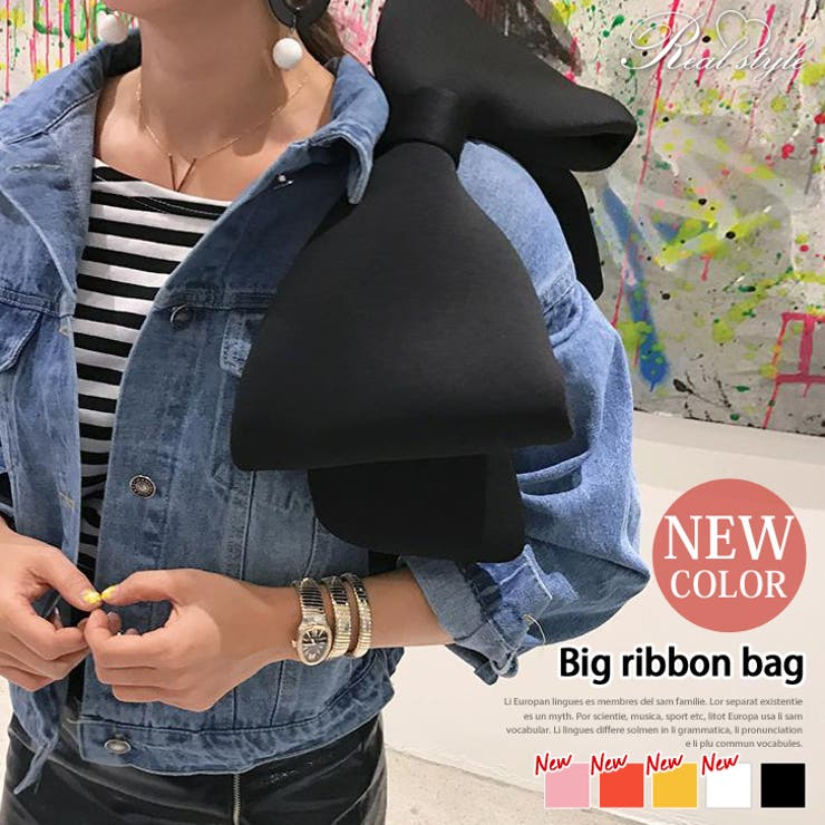 ボンディング素材ビッグリボンバッグ レディース 鞄   REAL STYLE   詳細画像1