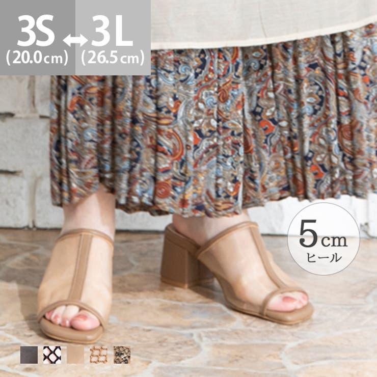 スクエアトゥ5cm太ヒールミュールサンダル | 詳細画像