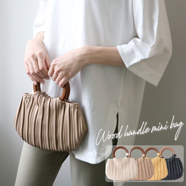 ウッドハンドルプリーツミニバッグ鞄バッグミニバッグプリーツバッグ小物入れ肩掛けウッドハンドル小物エコレザーキレカジガーリーきれいめこなれowncode(ts) | 詳細画像