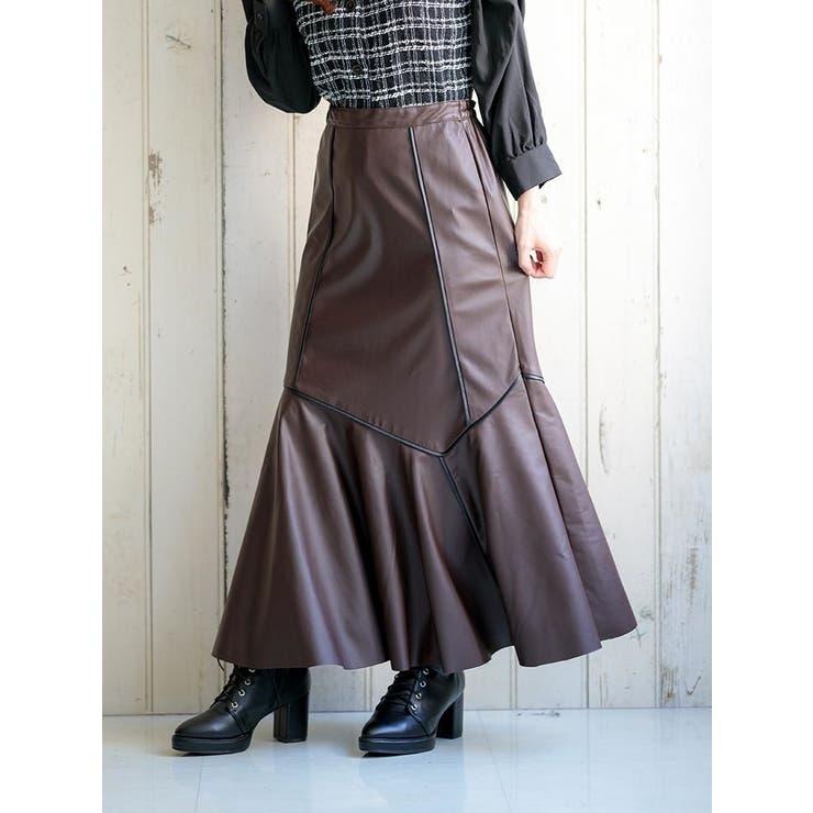エコレザーパイピングマーメイドスカート | Ludic Park | 詳細画像1