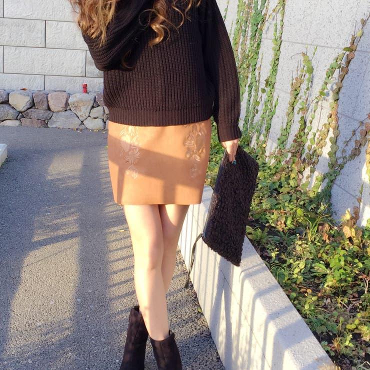 スエード刺繍スカート