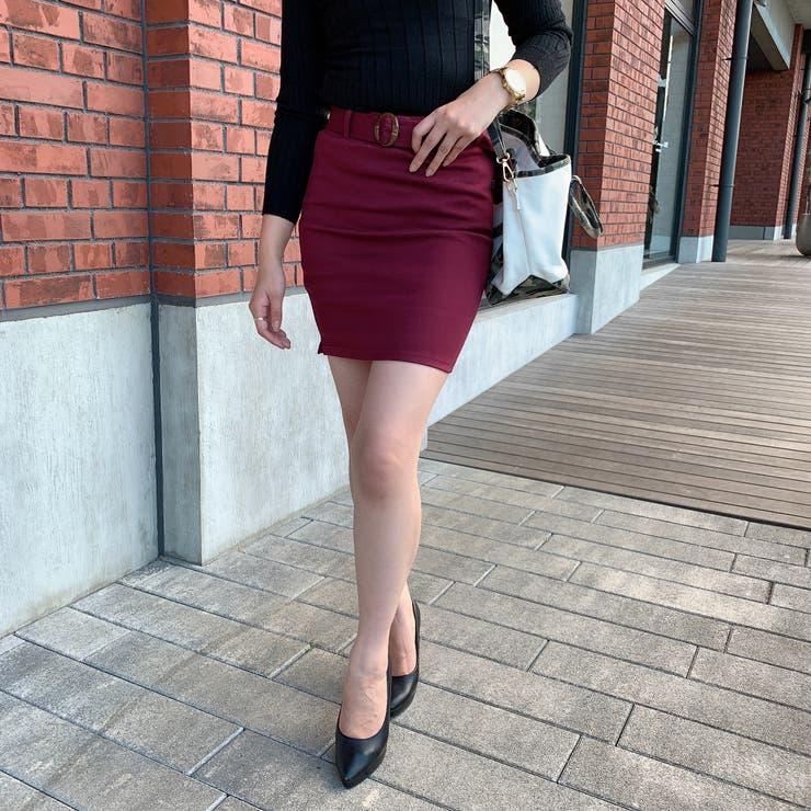 共布ベルト付きミニタイトスカート レディース スカート   VANITY FACE   詳細画像1