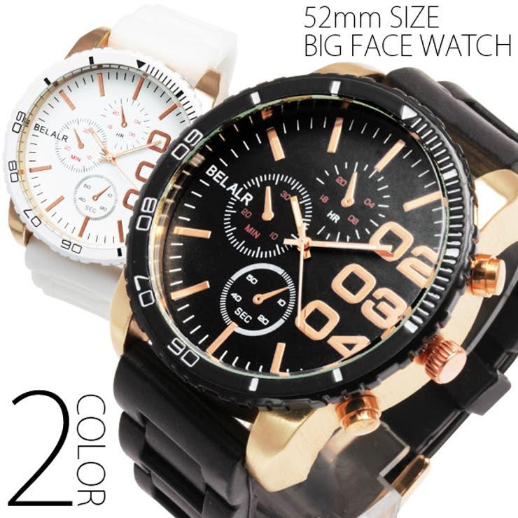 腕時計 メンズ レディース ピンクゴールド NEWビッグフェイス&ラバーベルト腕時計 OSD31[ru-AC-W-JH33m]直径50mm超でインパクト大!!艶消しピンクゴールドが美しい、アシンメトリーカジュアルウォッチ☆