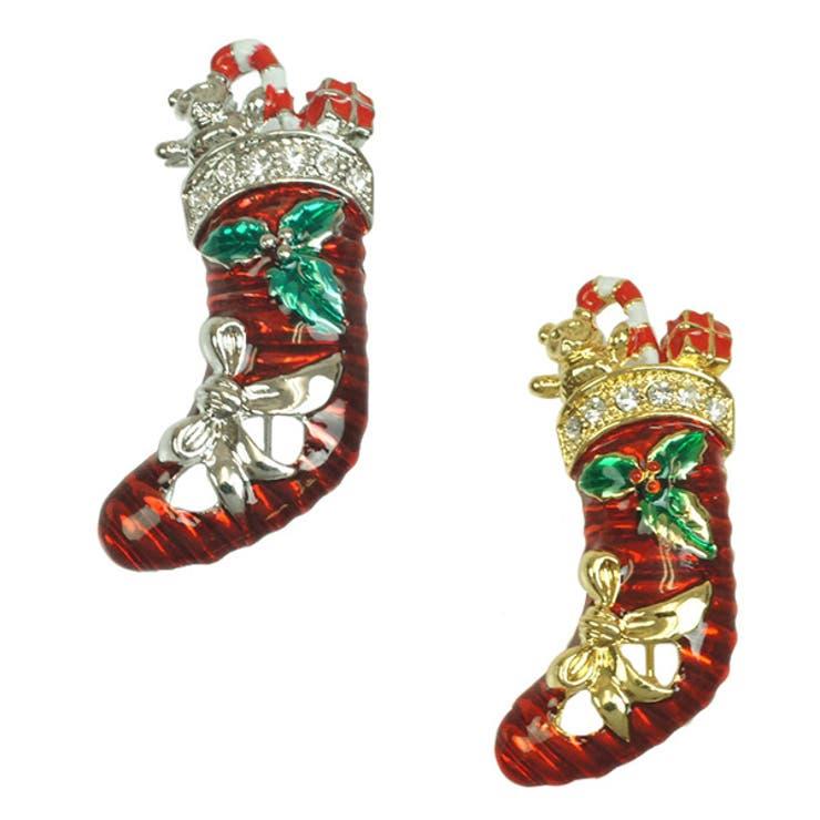 ピンブローチ クリスマスモチーフ 靴下 ブーツ  ストール留め サンタクロース 胸元 バッグ 帽子 レディースニッケルフリー X'mas プレゼント ギフト