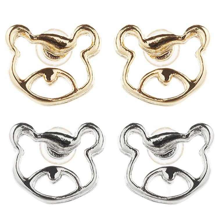 レディース 樹脂 スタッドピアス 低アレルギー 熊 クマ ベアー アニマル 動物 可愛い 日本製 ミニ 小さめ プレゼント ギフト