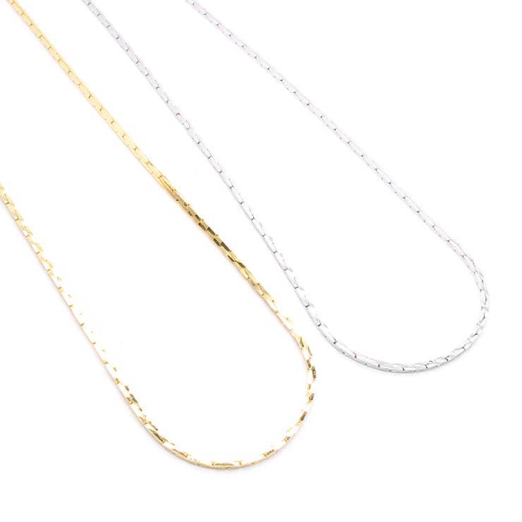 レディース メンズ ユニセックス ネックレス チェーンのみ スエッジ アズキタイプ 日本製 40cm 低アレルギー 引き輪金具 シルバー ゴールド