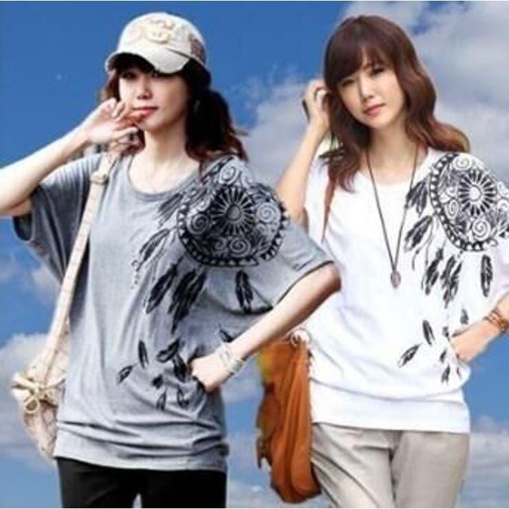 ドルマンプリントTシャツ チュニック 全2色 大きいサイズ 秋冬 大人気   アクセサリーショップPIENA   詳細画像1