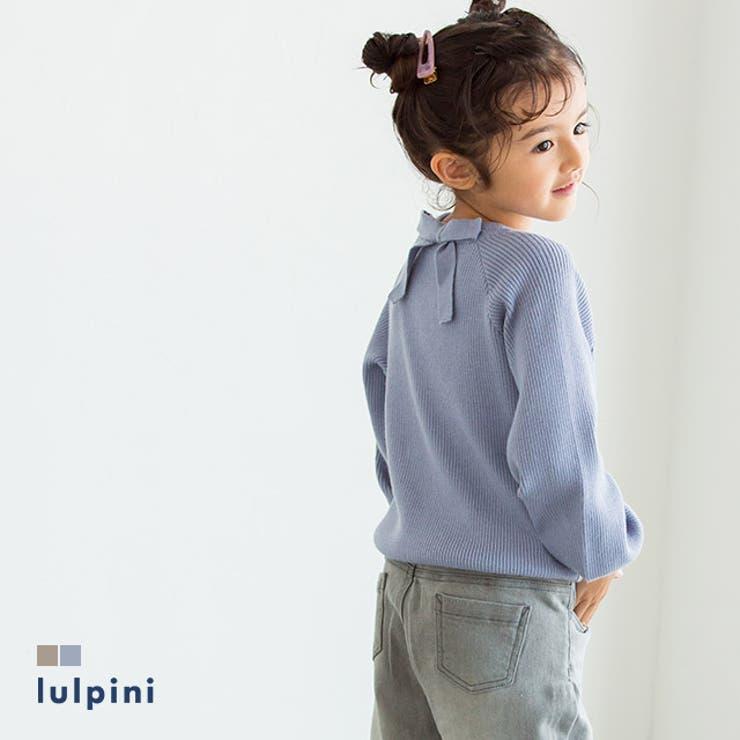 kids バックリボンリブニット ニット   lulpini   詳細画像1