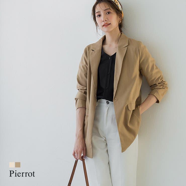 リネンテーラードジャケット ジャケット リネン   pierrot   詳細画像1