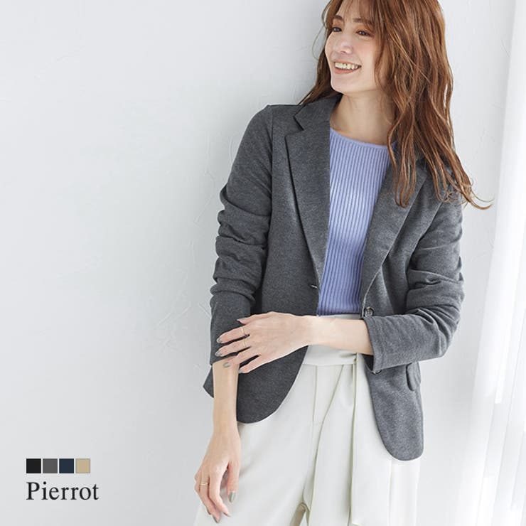 ポンチ素材テーラードジャケット ジャケット テーラードジャケット シングル | pierrot | 詳細画像1