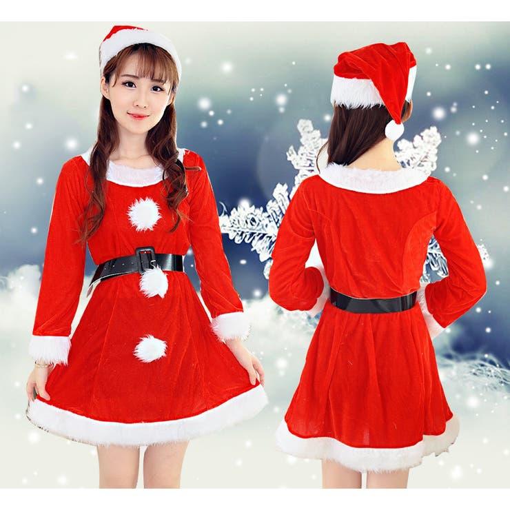 クリスマスコスプレ レディースサンタ コスプレセット 長袖 半袖 ワンピース 帽子 ベルト 3点セット レディース コスプレ衣装 変装仮装
