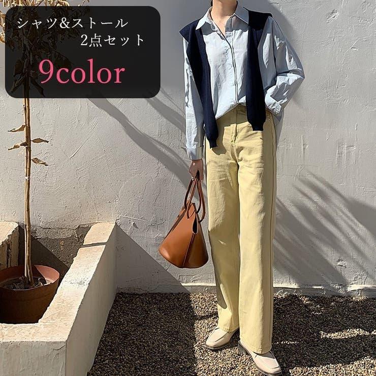 カラーシャツ カジュアルシャツ ショール   PlusNao   詳細画像1