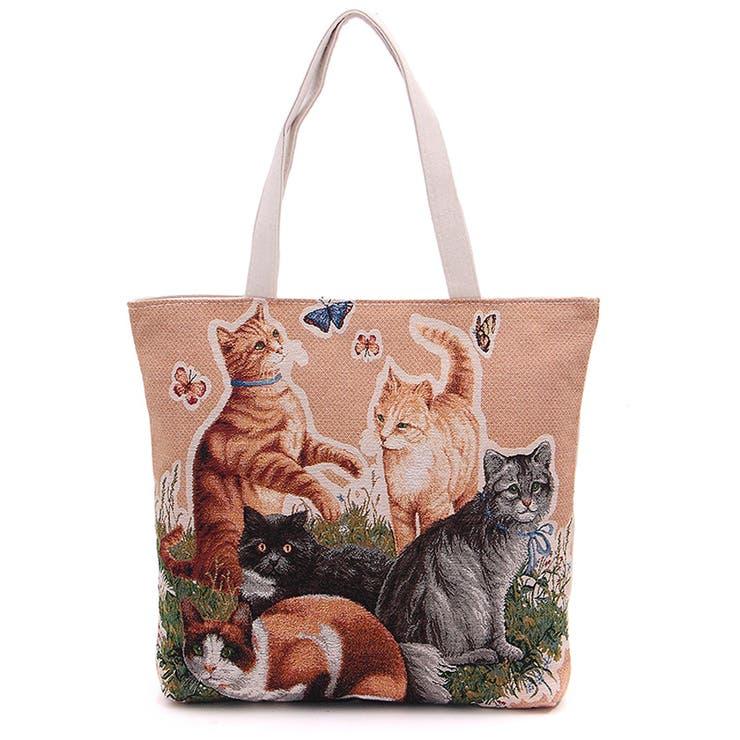 ゴブラン織りのネコちゃん トートバッグ ファスナー付き かわいい子猫の綴れ織り バッグ 鞄 かばん 秋 秋冬 収納 楽 猫