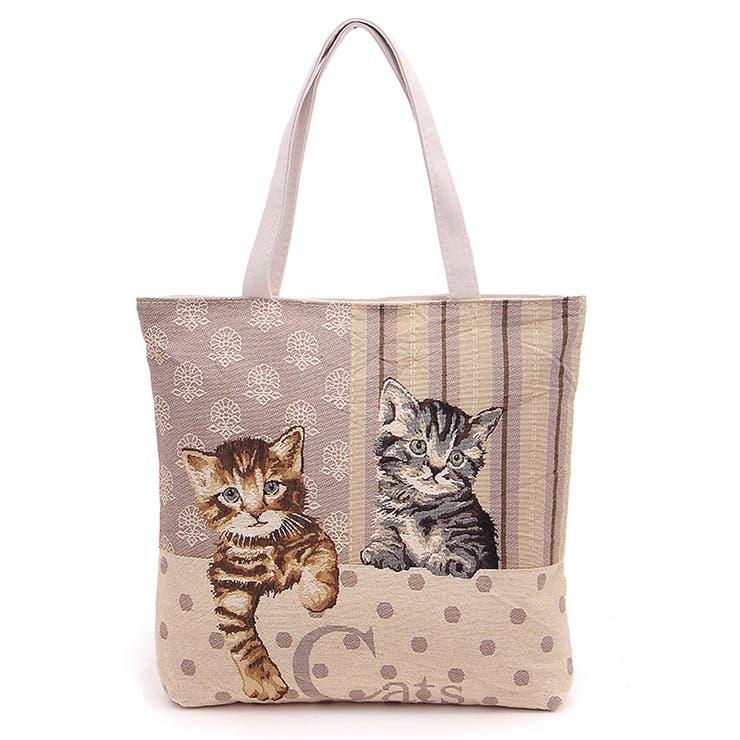 ゴブラン織りのネコちゃんトートバッグ ファスナー付き かわいい子猫の綴れ織り バッグ 鞄 かばん 収納 楽 猫