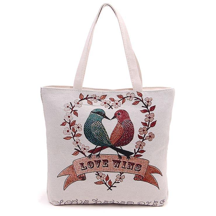 ゴブラン織りの小鳥のトートバッグ ファスナー付き ツインバードの綴れ織り バッグ 鞄 かばん  収納 楽 鳥