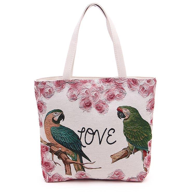 ゴブラン織りのかわいいオウムのトートバッグ ファスナー付き ツインバードの綴れ織り バッグ 鞄 かばん  収納 楽 鳥