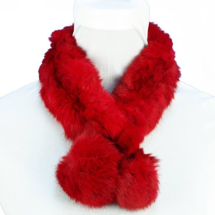 コスパ最高♪レディースファッション通販 ふわふわ リアルラビットマフラー リアルラビットファー 赤いマフラー レディースボリューム ファー 小物 秋冬レディース