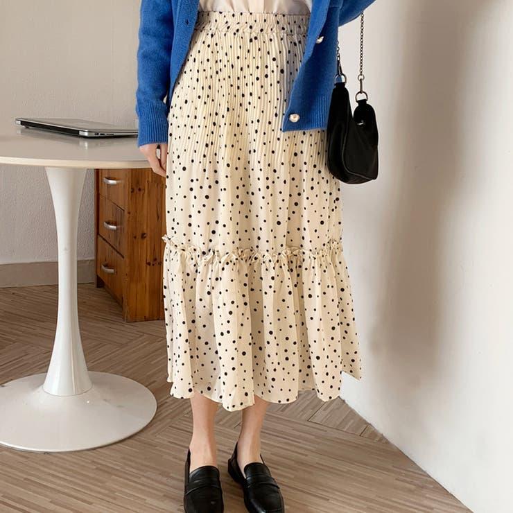 韓国ファッションドット柄スカート プリーツスカート ティアードスカート夏服セクシー | &soiree | 詳細画像1