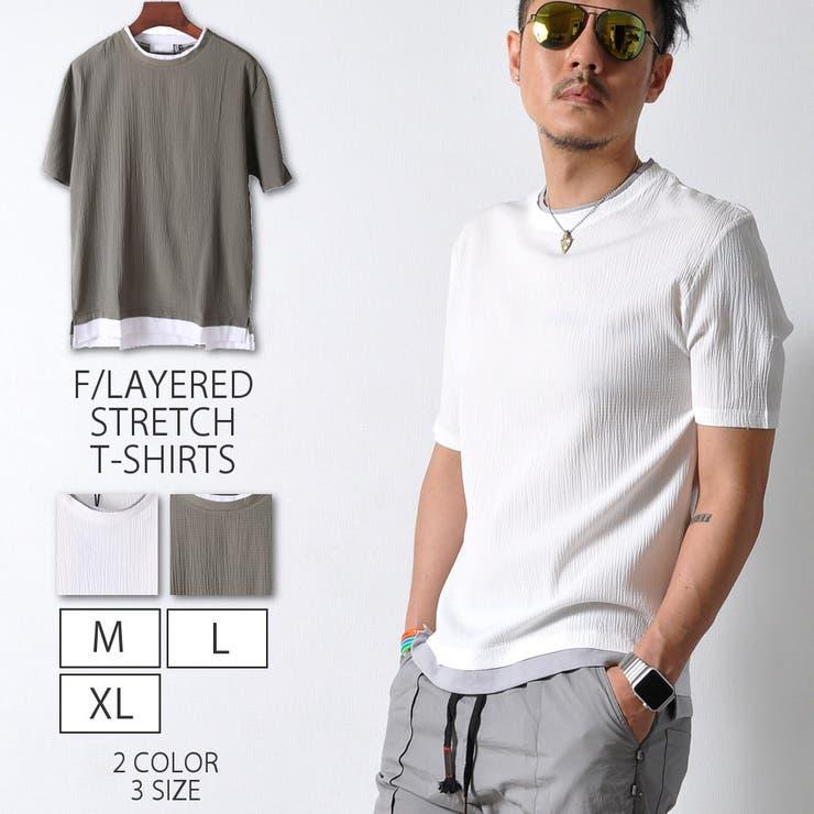 フェイクレイヤード ストレッチTシャツ 半袖 | RAiseNsE  | 詳細画像1
