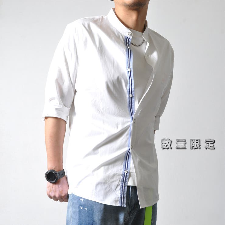 スタンドカラー 五分袖シャツ メンズ | RAiseNsE  | 詳細画像1