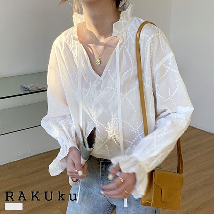 首元リボンコットン刺繍ブラウス♪春 夏 秋 | RAKUku | 詳細画像1