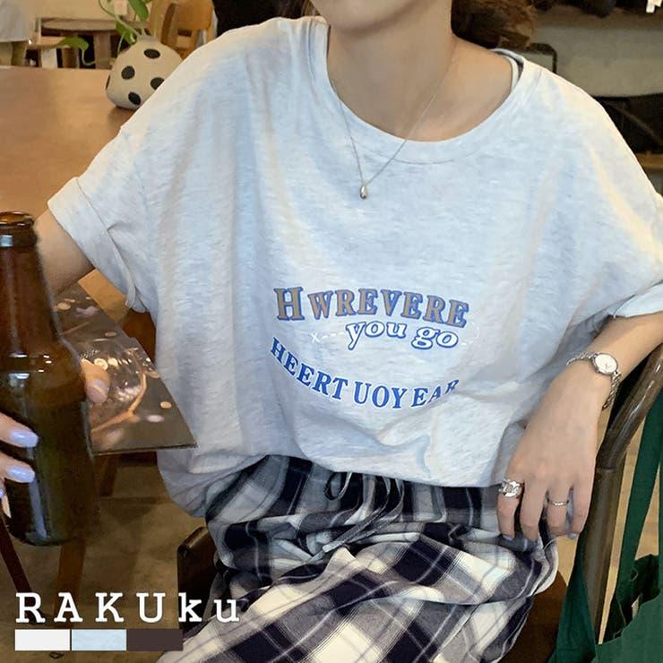 フロントロゴゆったりTシャツ♪春 夏 秋   RAKUku   詳細画像1