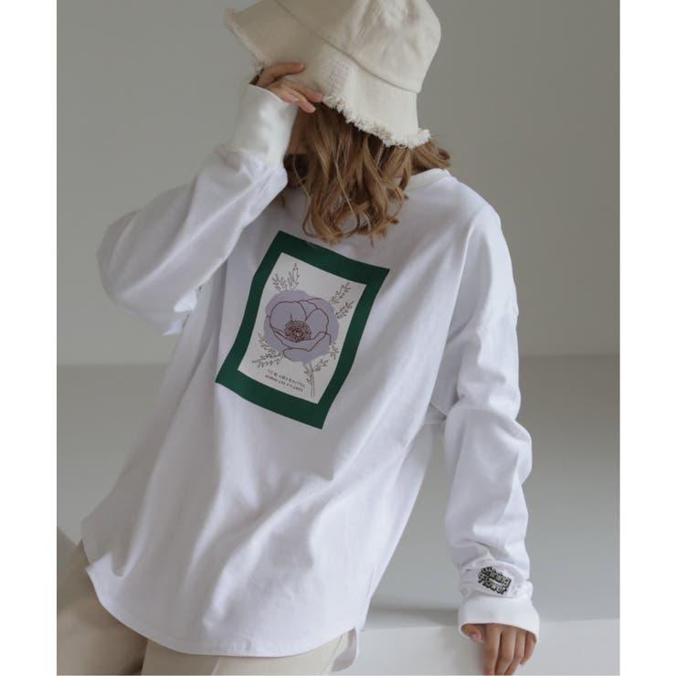 ポイント刺繍フラワーロングTシャツ   Ray Cassin   詳細画像1