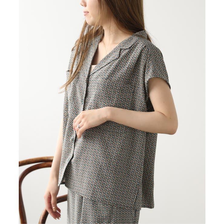 小紋柄フレンチスリーブシャツ | Ray Cassin | 詳細画像1