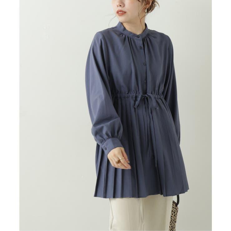 スパンブロード裾プリーツシャツ   Ray Cassin   詳細画像1