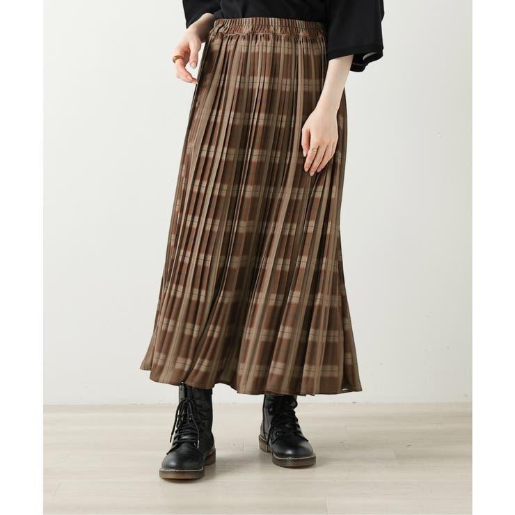 オリジナルチェック柄消しプリーツスカート | DOUBLE NAME | 詳細画像1