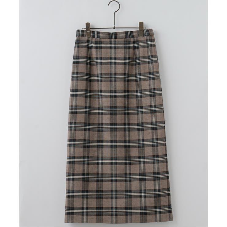Wフェイスチェックナロースカート | MJUKA. | 詳細画像1